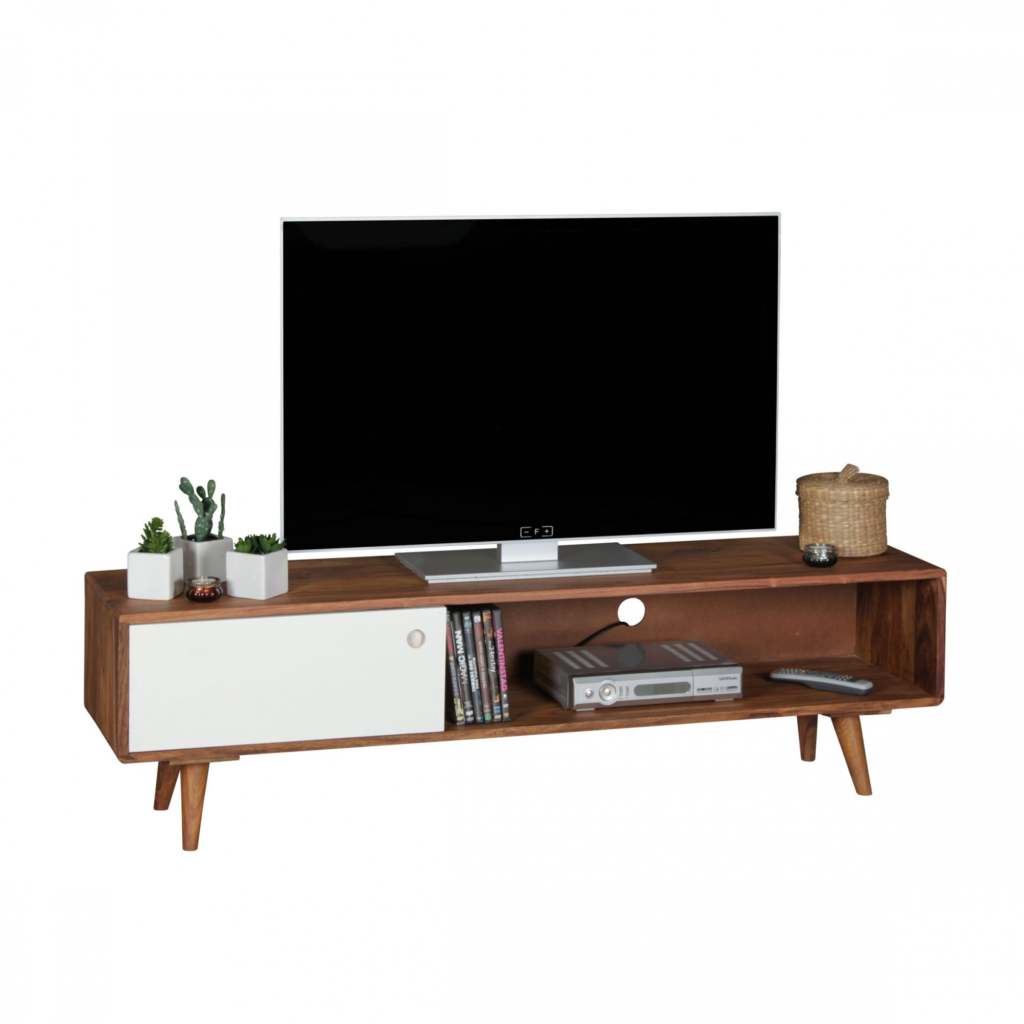 TV stolek s dvířky Repa, 140 cm, masiv Sheesham, bílá