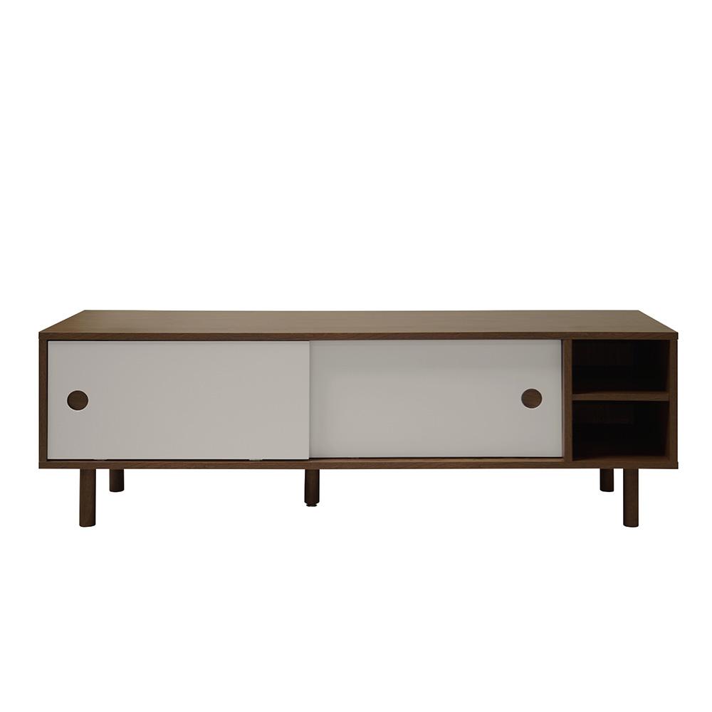 TV stolek s posuvnými dveřmi State, 150 cm, ořech/stříbrná
