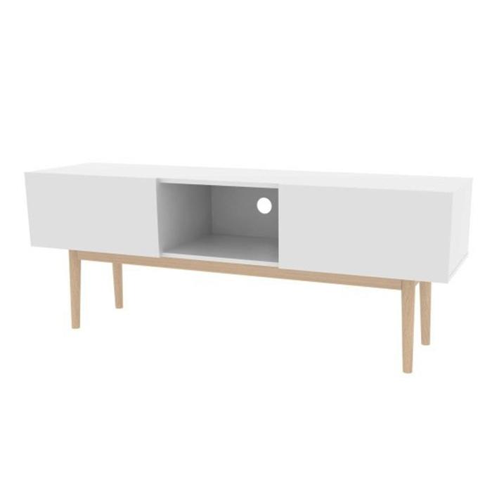 TV stolek s výklopnými dvířky Gabi, 150 cm, bílá/dub