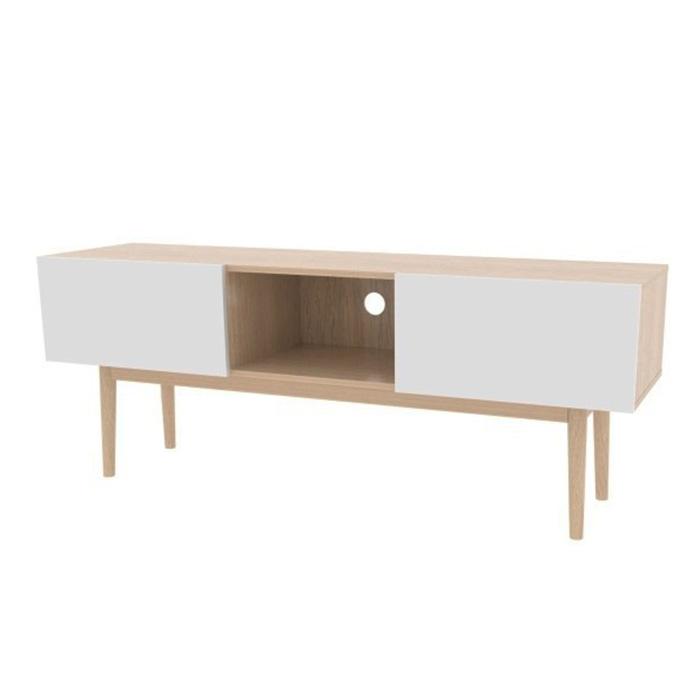 TV stolek s výklopnými dvířky Gabi, 150 cm, dub/bílá