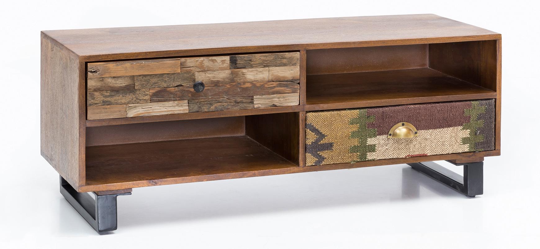 TV stolek se zásuvkami Patna, 120 cm, mangové dřevo