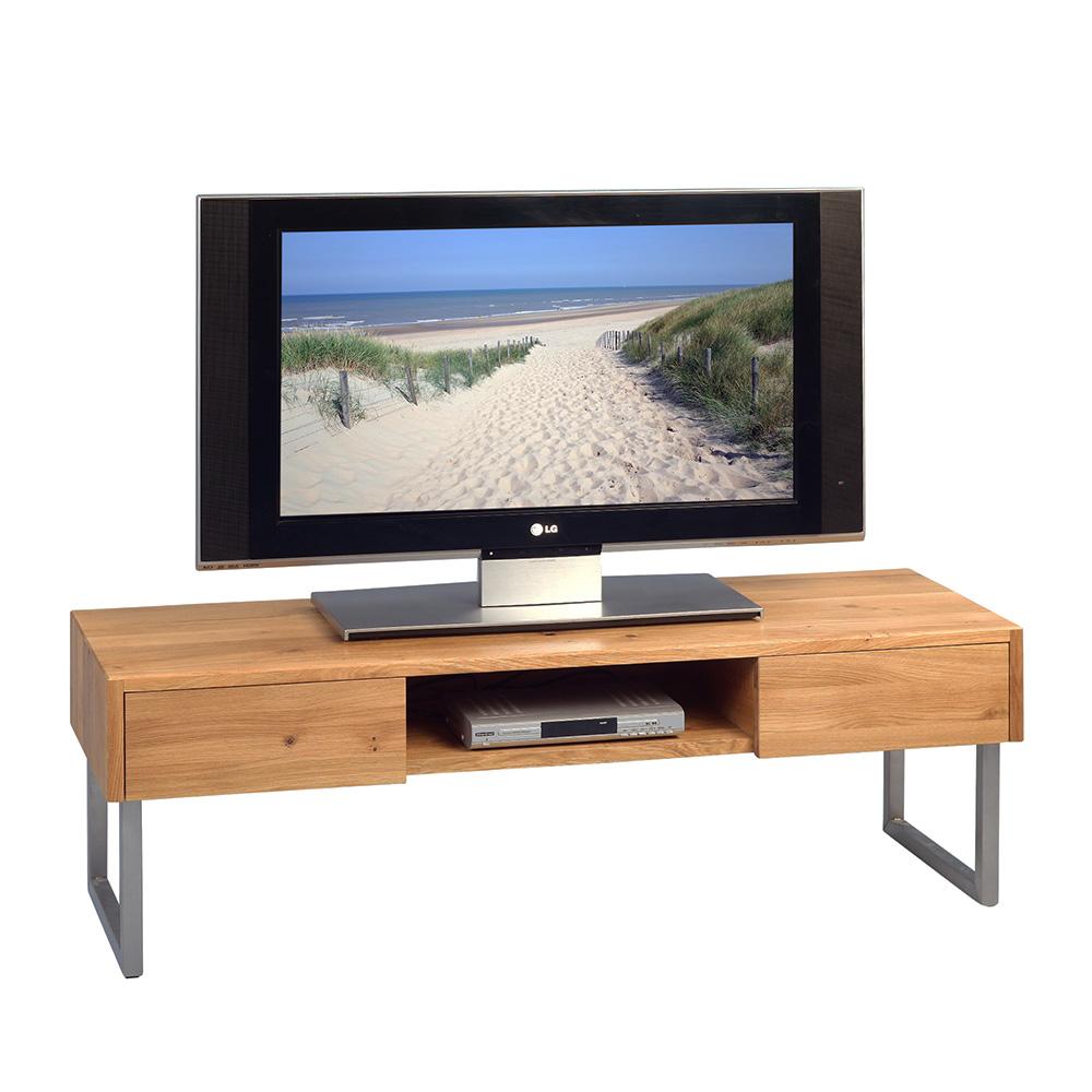 TV stolek se zásuvkami Tessa, 120 cm, masiv/nerez