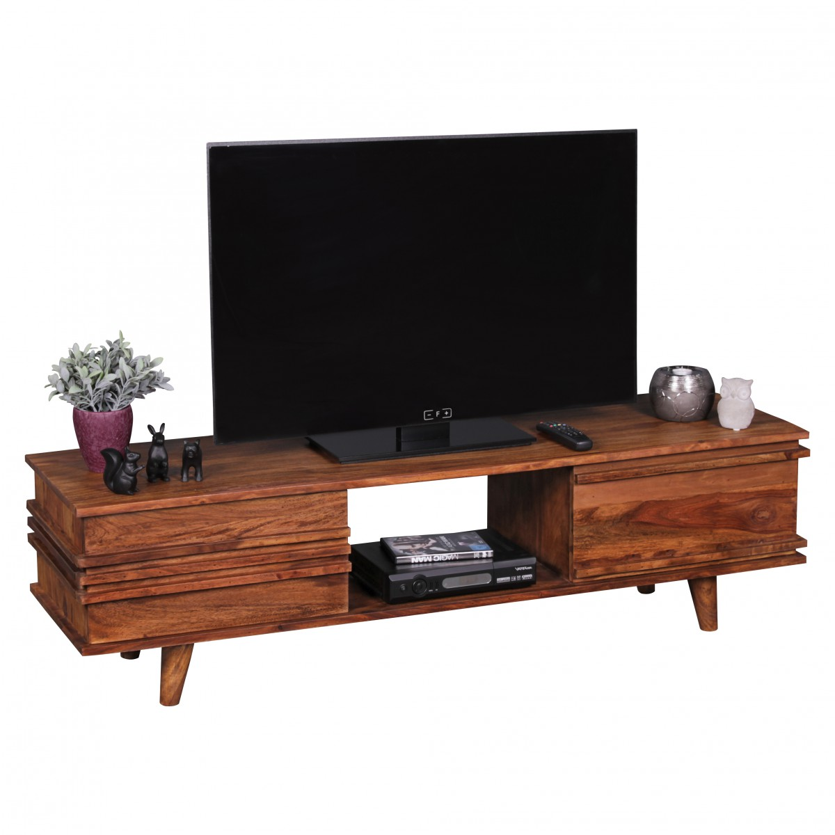 TV stolek se zásuvkou a výklopnými dveřmi Kada, 145 cm, masiv Sheesham