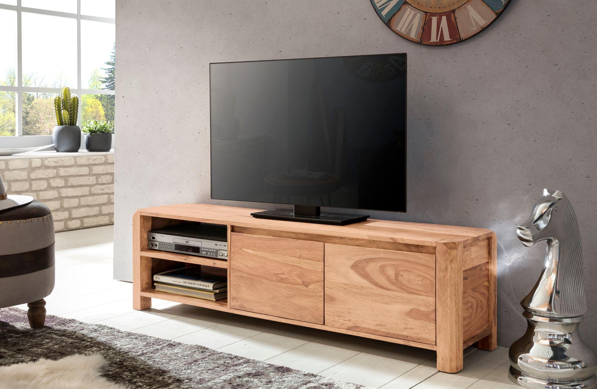 TV stolek se zásuvkou, dveřmi a policí Boha, 140 cm, masiv akát