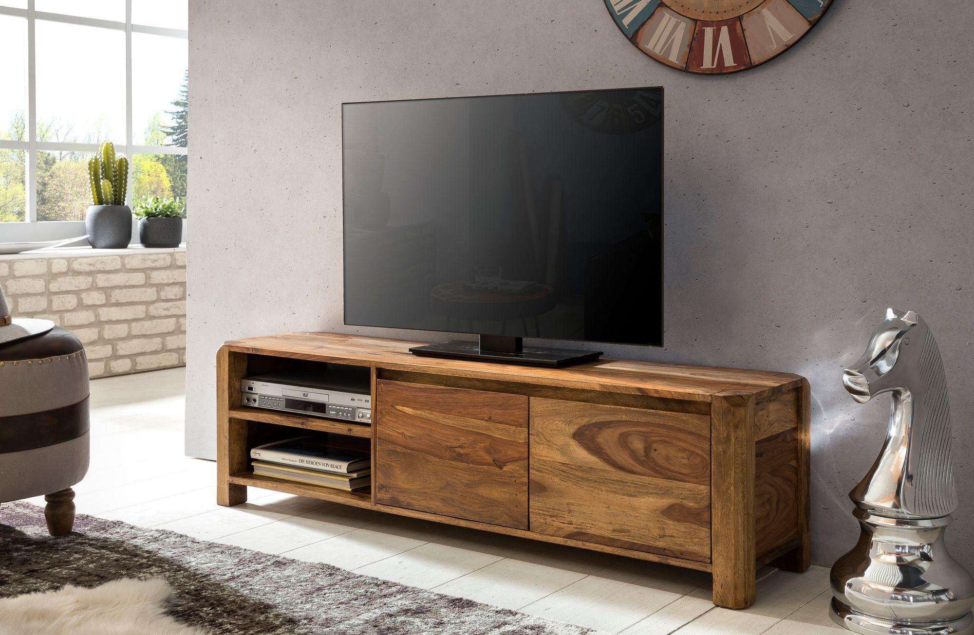 TV stolek se zásuvkou, dveřmi a policí Boha, 140 cm, masiv Sheesham