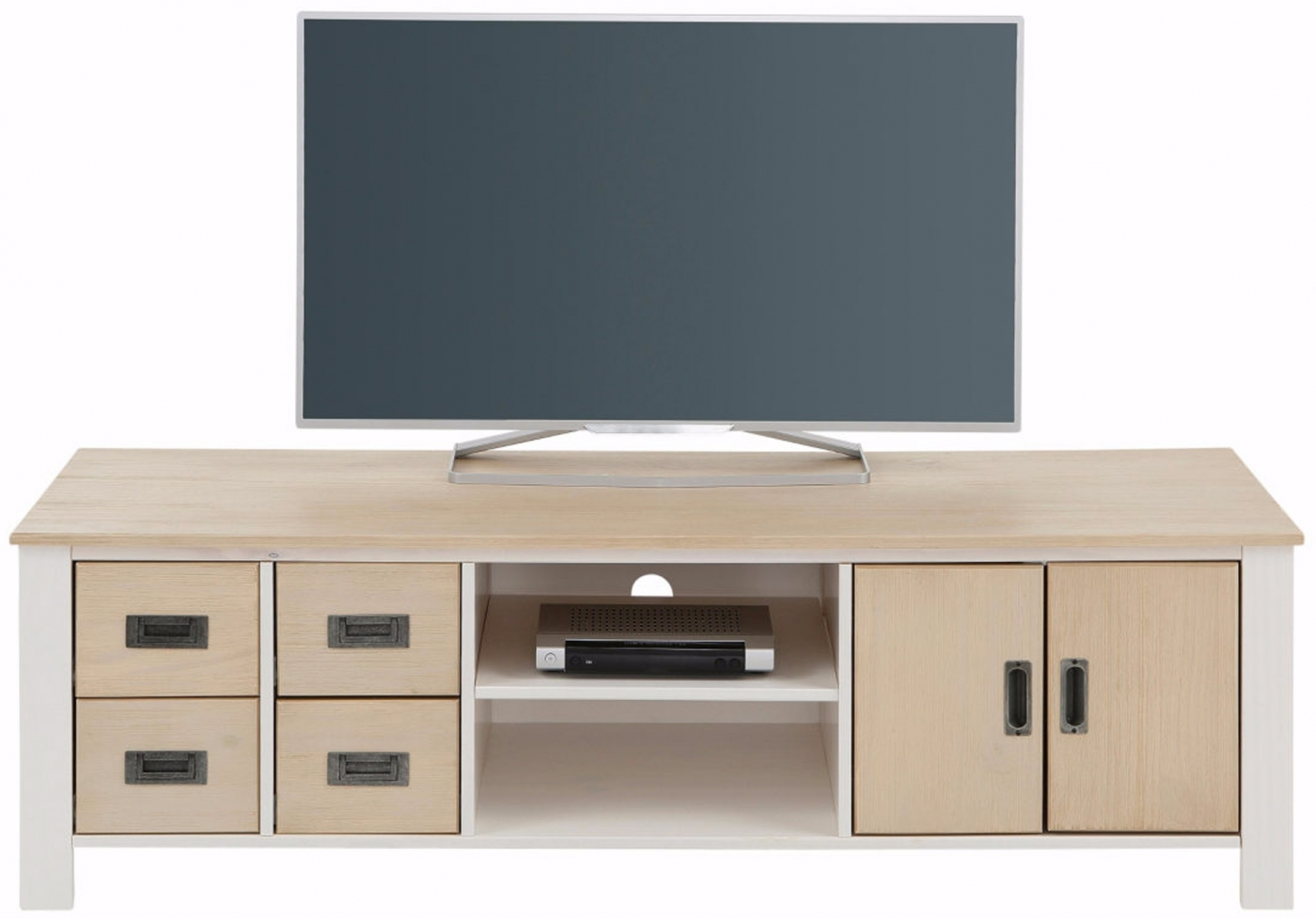 Tv stolek Shily, 150 cm, bílá / dub