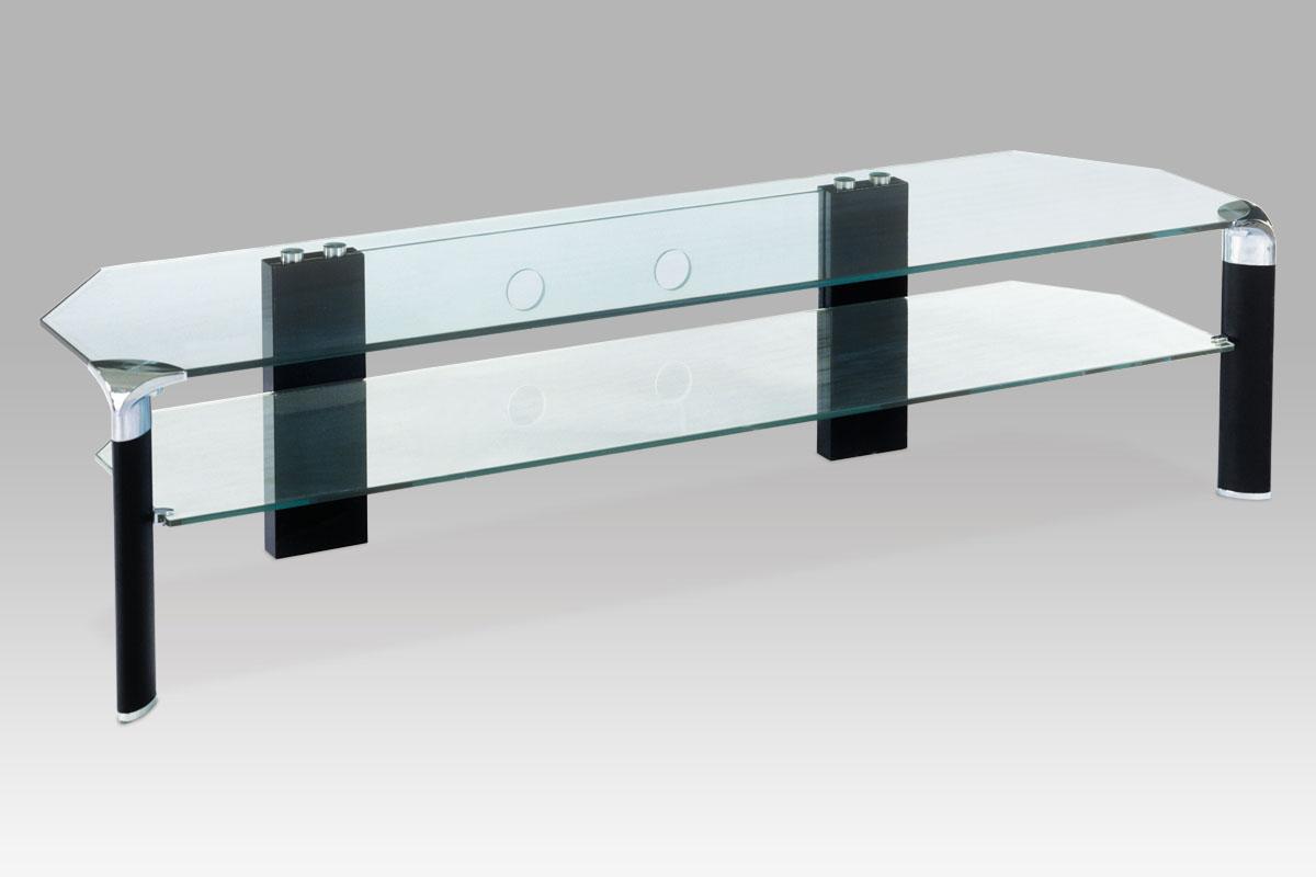 TV stolek skleněný Rolf, 180 cm, čiré sklo/černá