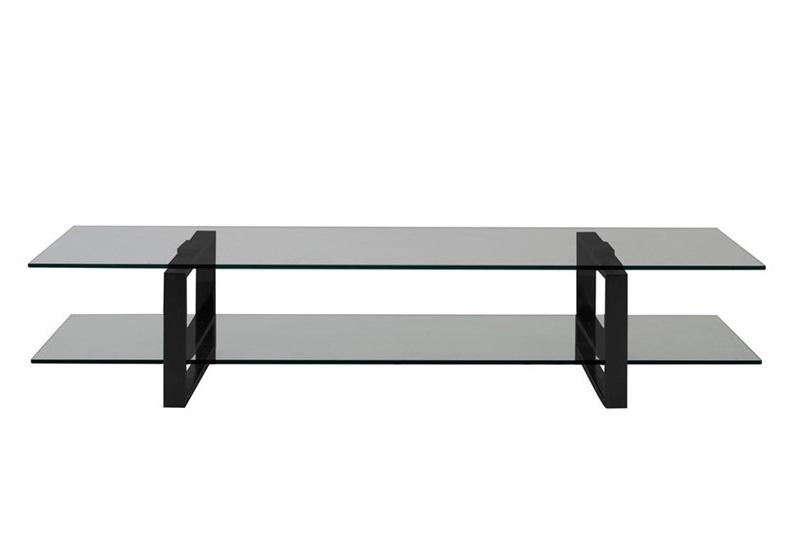 TV stolek Tracy, 120 cm, kouřové sklo/černá