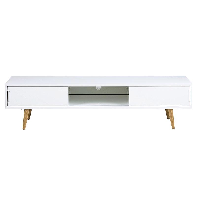 TV stolík s 2 dvierkami a policou Alice, 180 cm, biela / jaseň