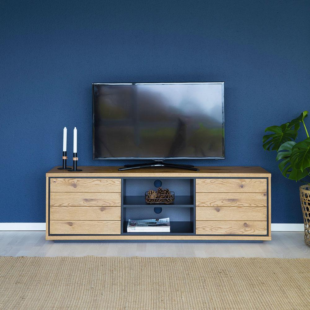 TV stolík s dverami a policou Dayton, 150 cm, divoký dub, dub