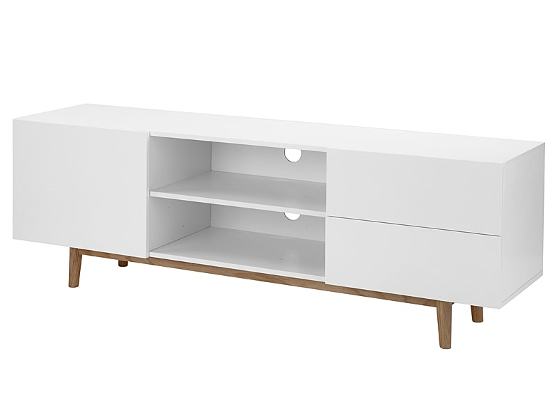 TV stolík s dvierkami a zásuvkami Gabi, 160 cm, biela / dub