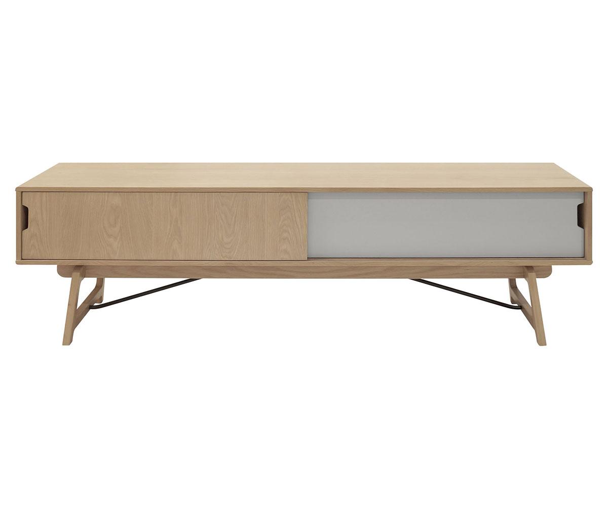 TV stolík s posuvnými dverami Kerstin, 180 cm, dub/šedá, dub / šedá