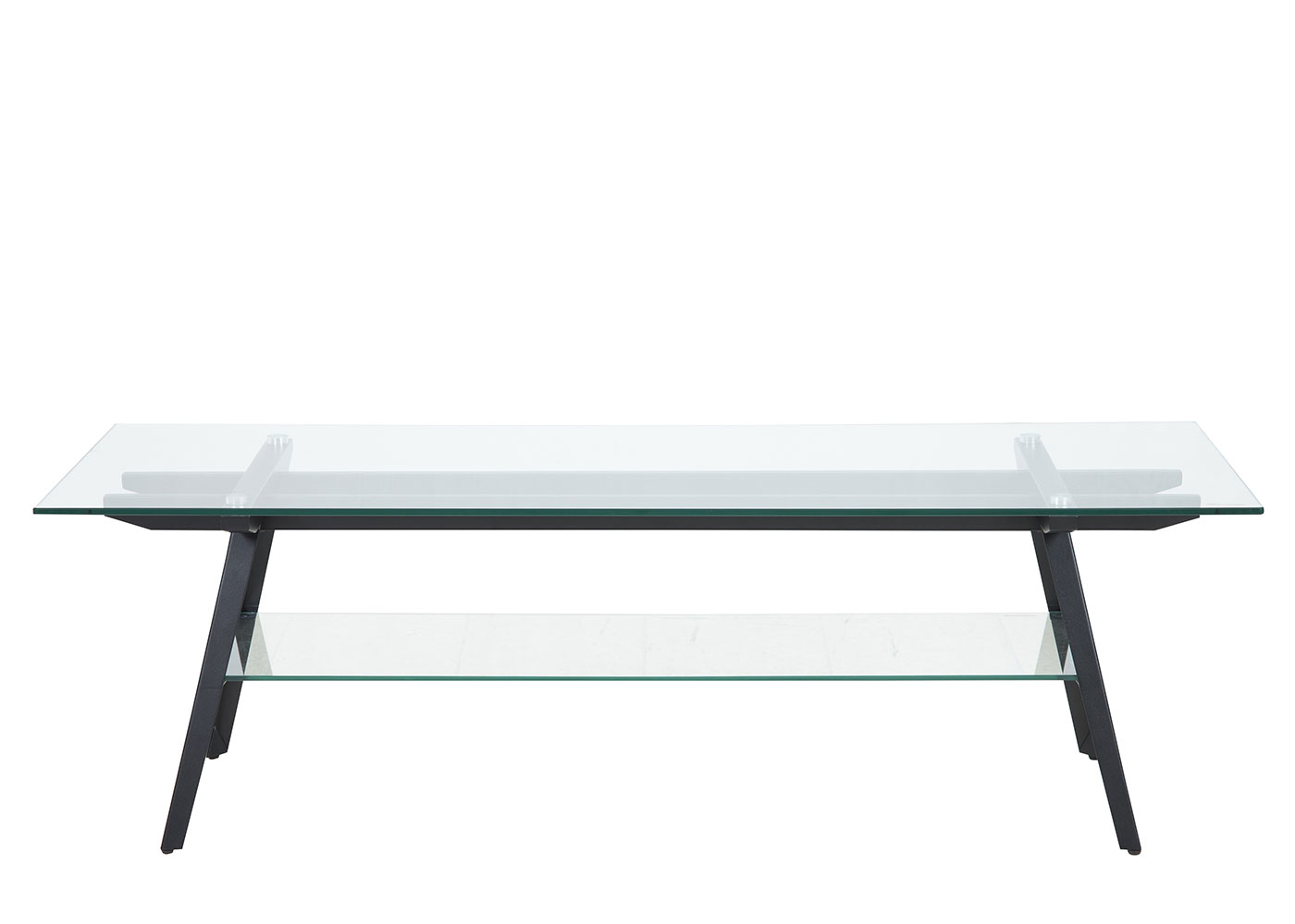 TV stolík sklenený Mayland, 160 cm, číra / čierna
