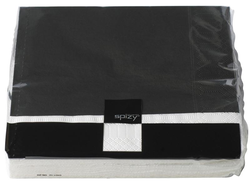 Ubrousky 33x33 cm, černá/bílý lem