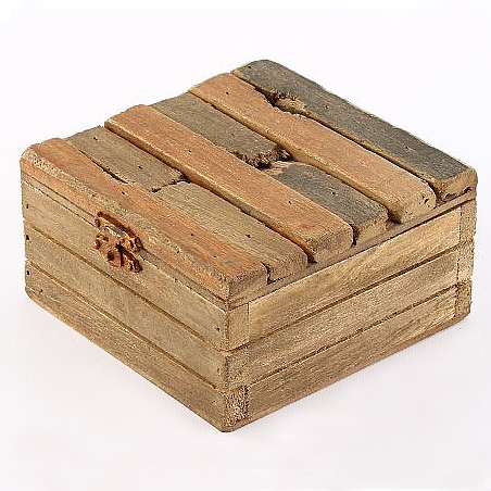 Úložná krabice s víkem dřevěná Maritime, 12 cm
