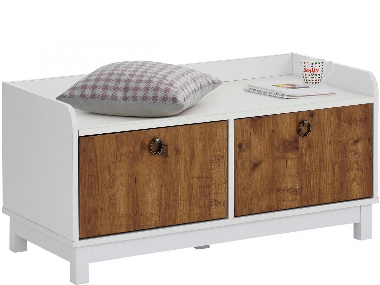 Úložná lavice Livat, 92 cm, bílá/dub