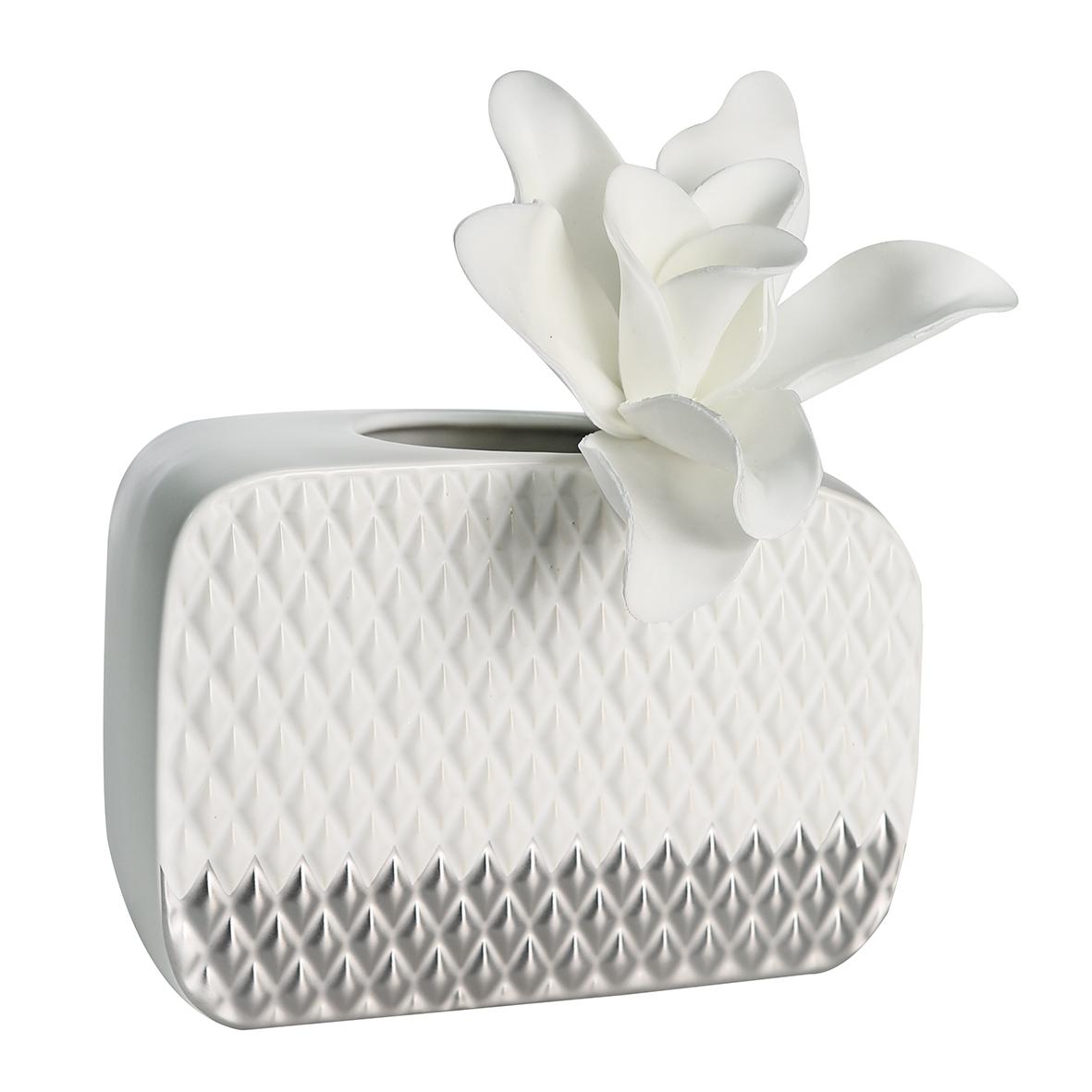 Váza Anil, 29 cm, bílá / stříbrná
