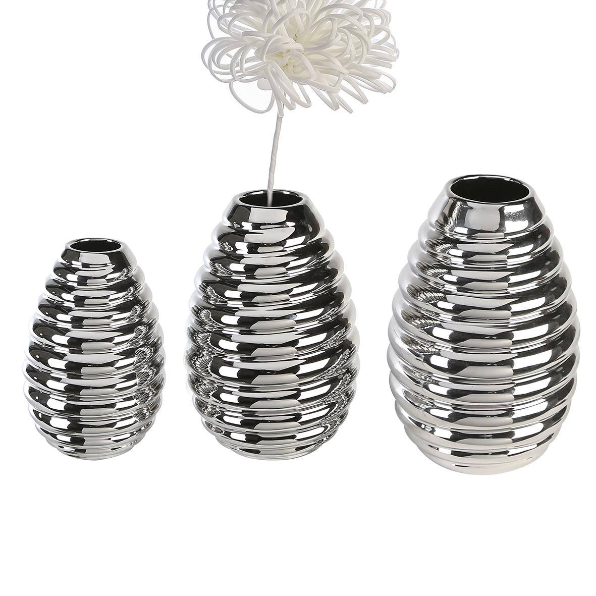 Váza Brad, 30 cm, stříbrná