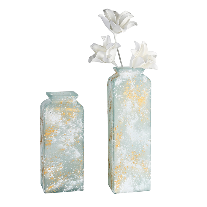 Váza Edgar, 45 cm, bílá / zlatá