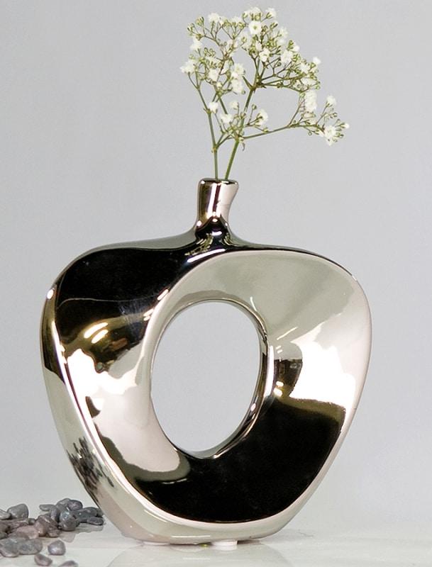 Váza keramická Apple, 37 cm, stříbrná