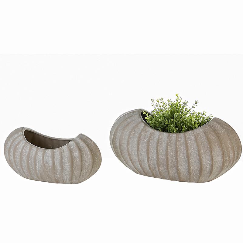 Váza keramická Crease, 35 cm, šedá