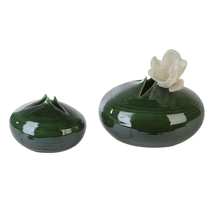 Váza keramická Manau, 25 cm, zelená