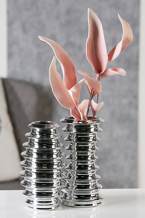 Váza porcelánová Salto, 21 cm, sada 2 ks, stříbrná
