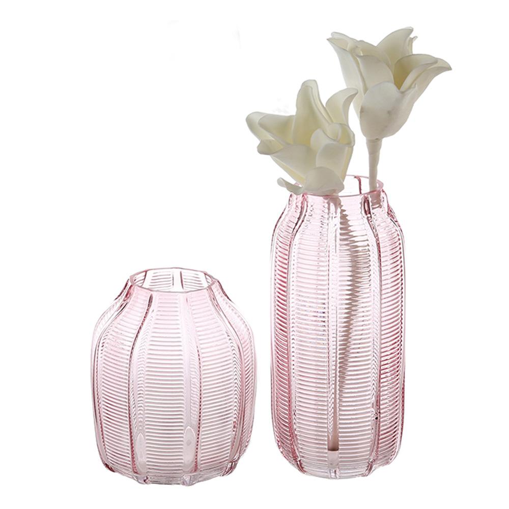 Váza skleněná Organic, 17 cm, růžová