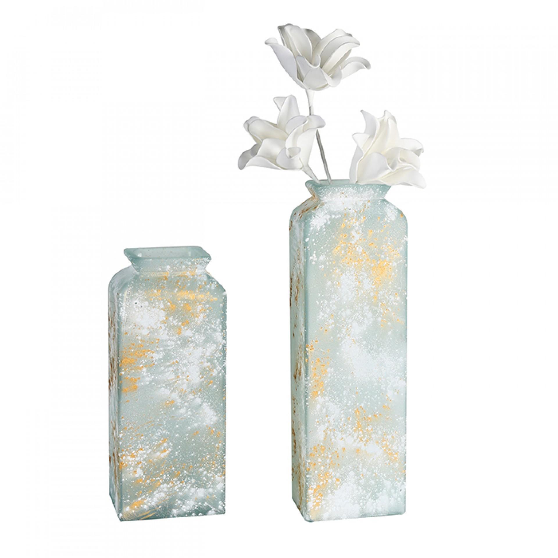 Váza z recyklovaného skla Gallos, 34 cm, bílá/zlatá