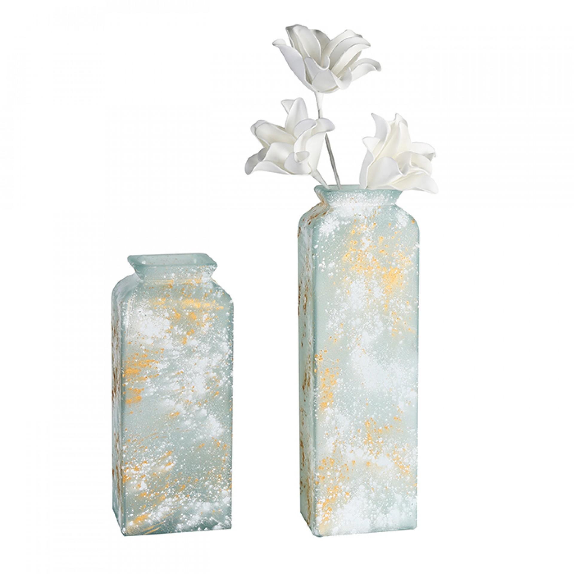 Váza z recyklovaného skla Gallos, 45 cm, bílá/zlatá
