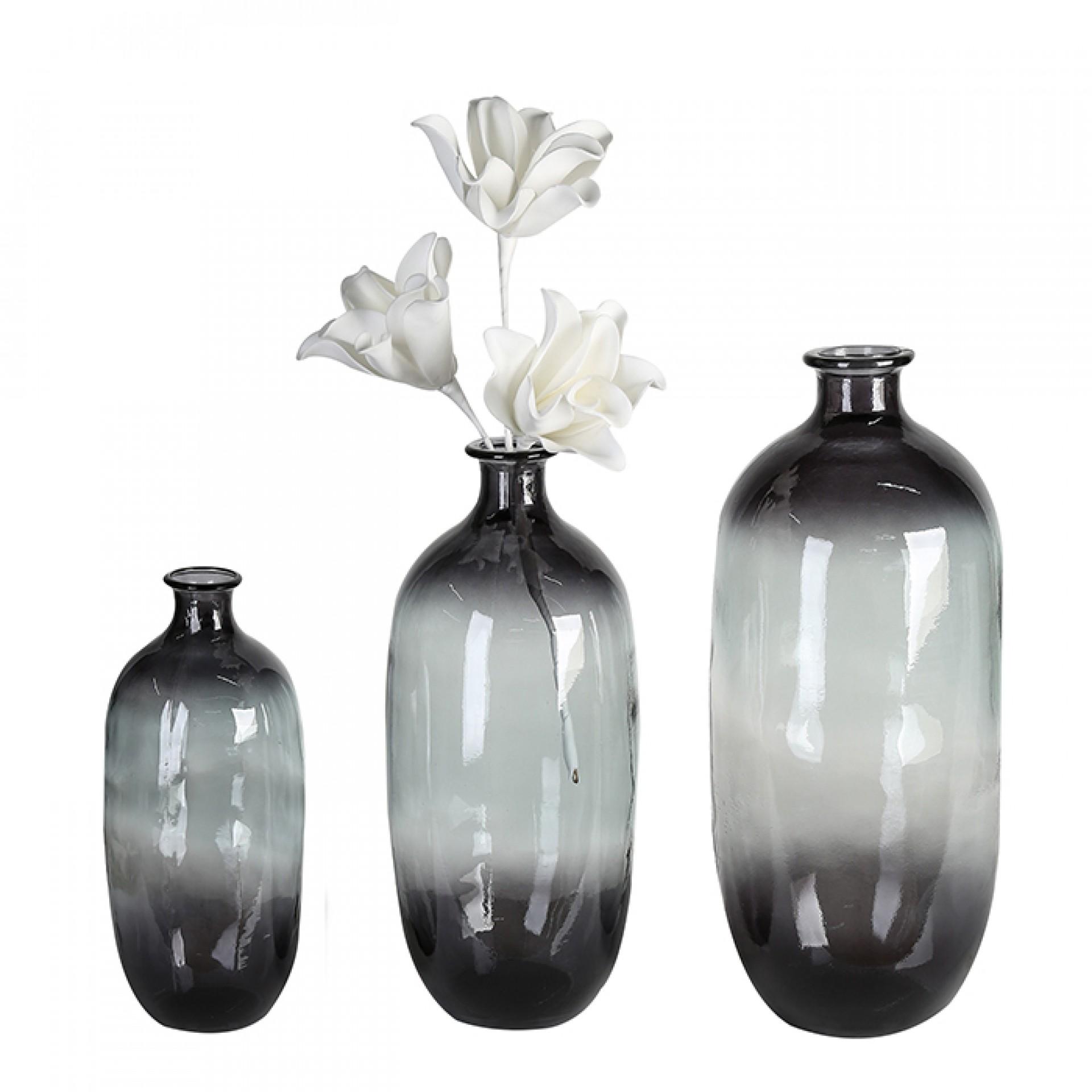 Váza z recyklovaného skla Laica, 31 cm, šedá
