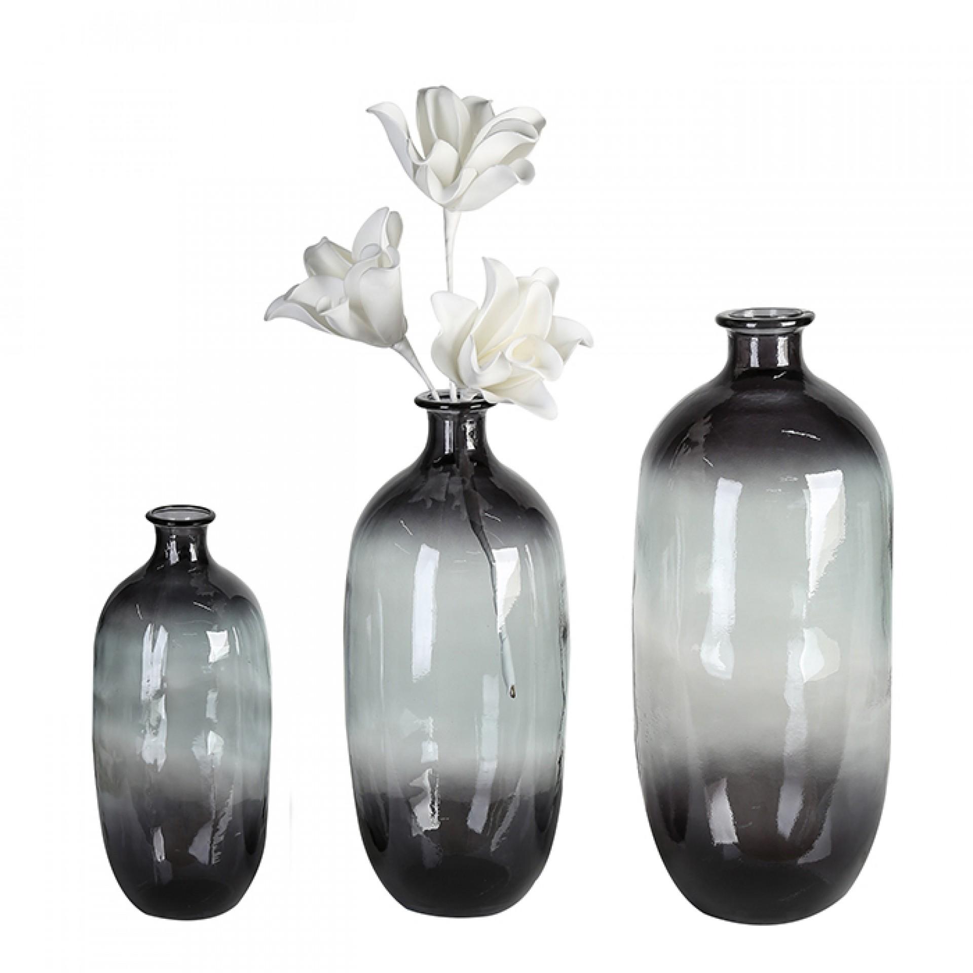 Váza z recyklovaného skla Laica, 38 cm, šedá