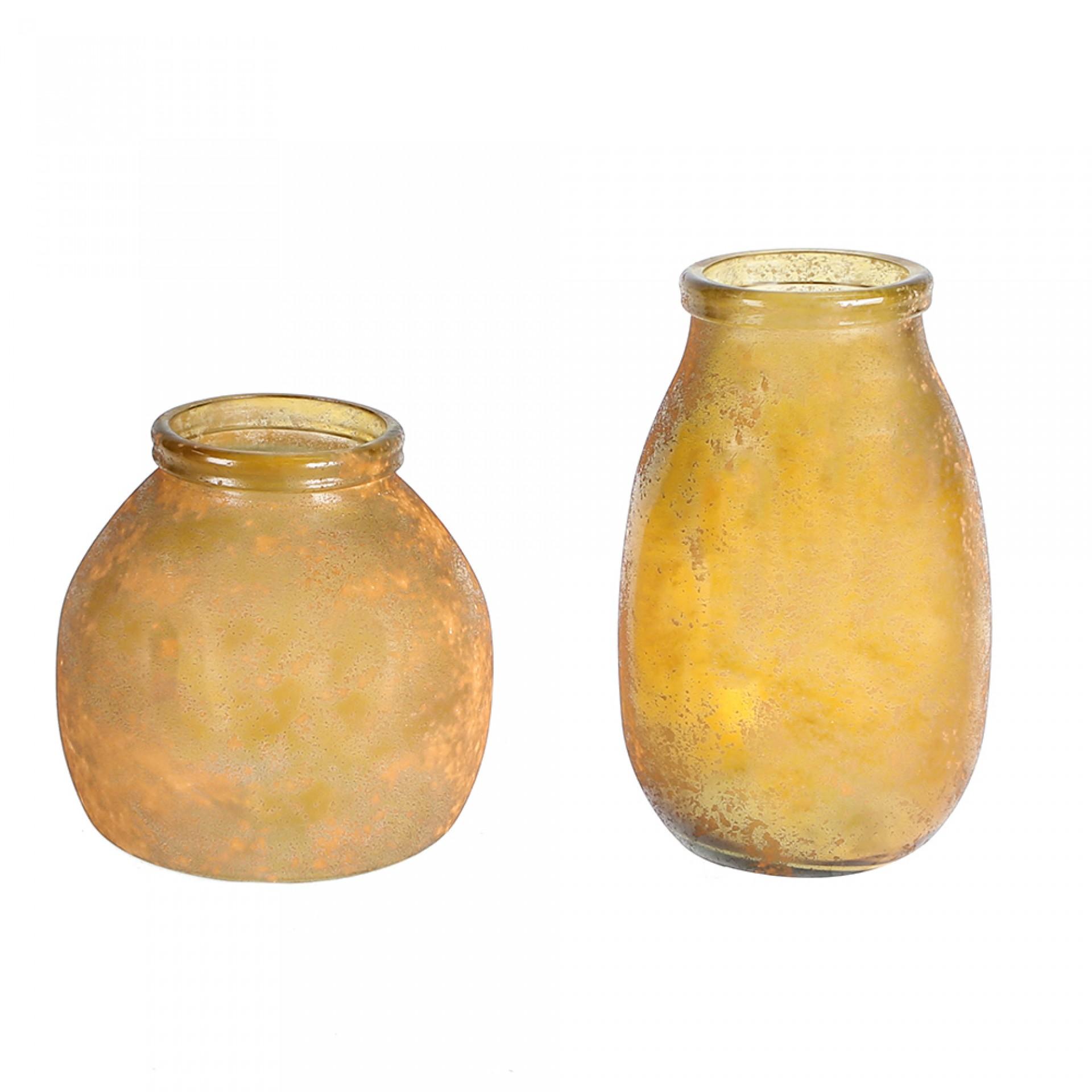 Váza z recyklovaného skla Schiras, 27 cm, curry