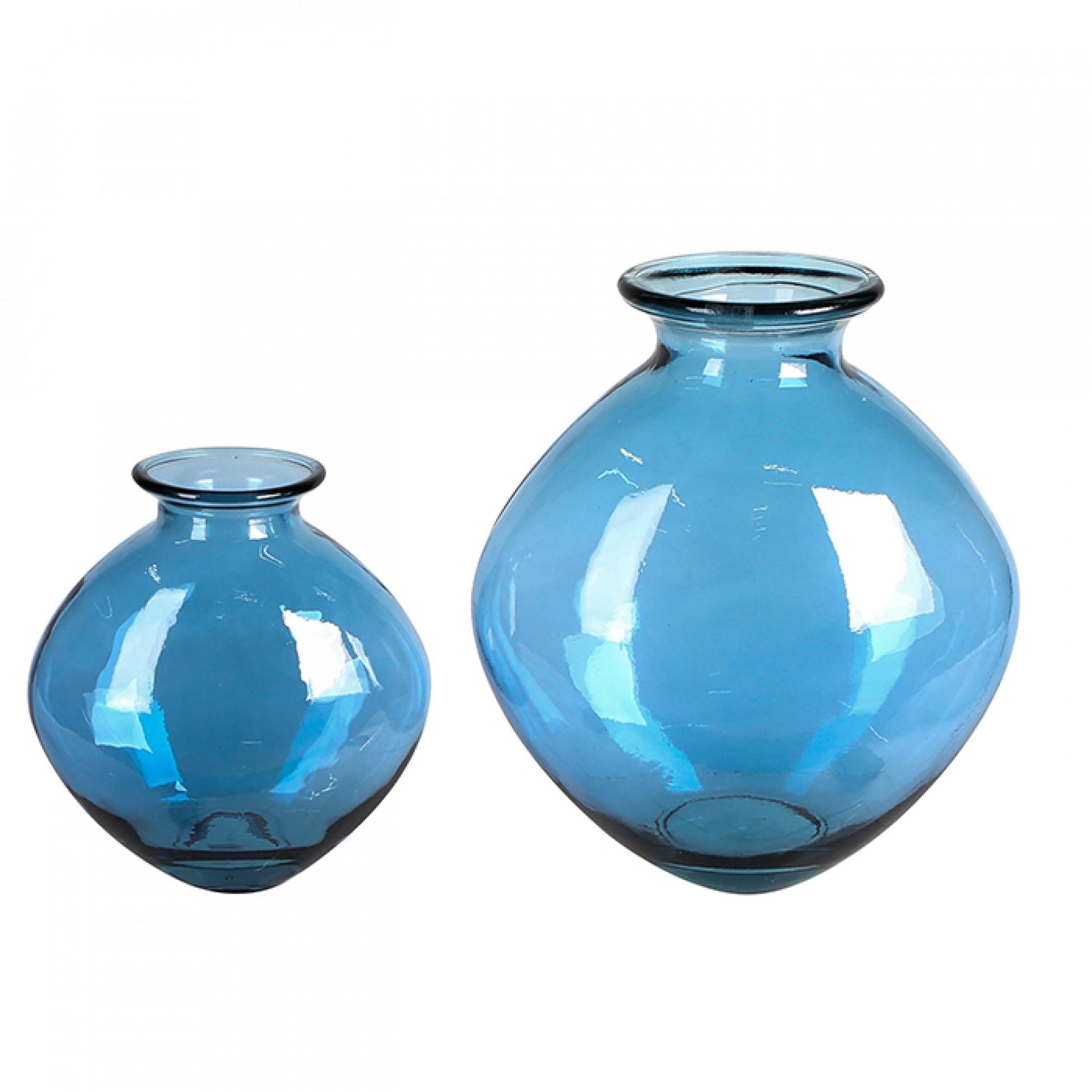 Váza z recyklovaného skla Vigo, 37 cm, modrá