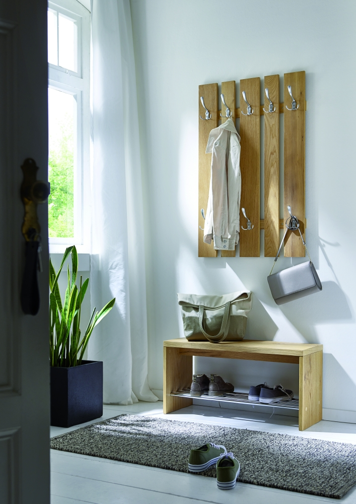 Věšáková stěna s 8 háčky Kirkie, 100 cm