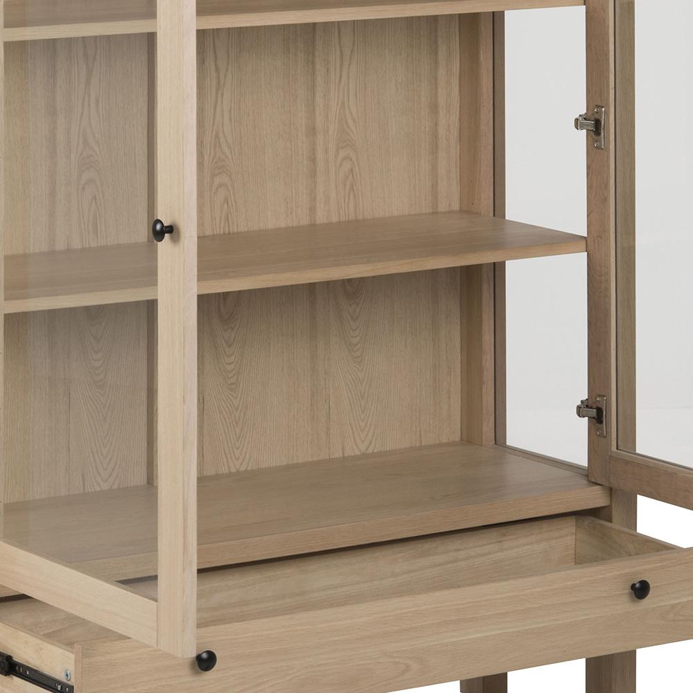 Vitrina / prosklená skříň Beata, 145,5 cm, dub