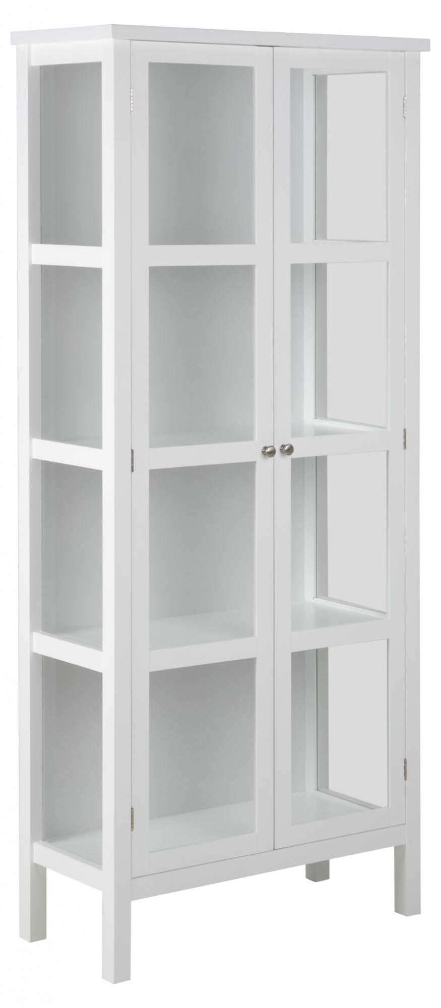 Vitrina s dvoukřídlými dveřmi Elton, 180 cm, bílá
