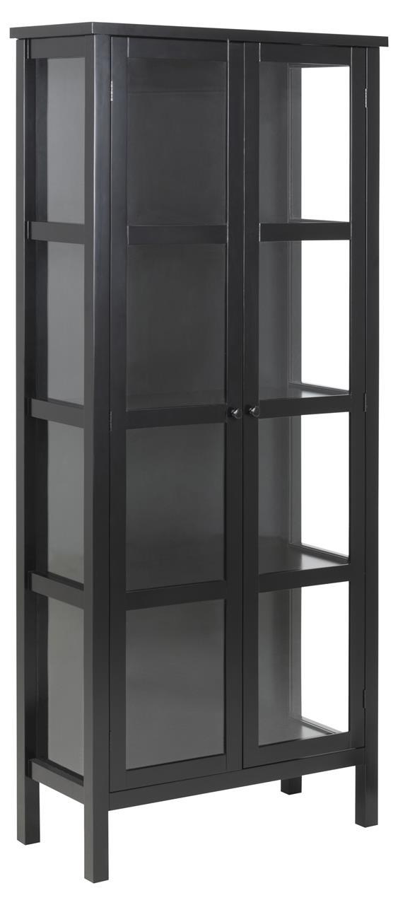 Vitrina s dvoukřídlými dveřmi Elton, 180 cm, černá