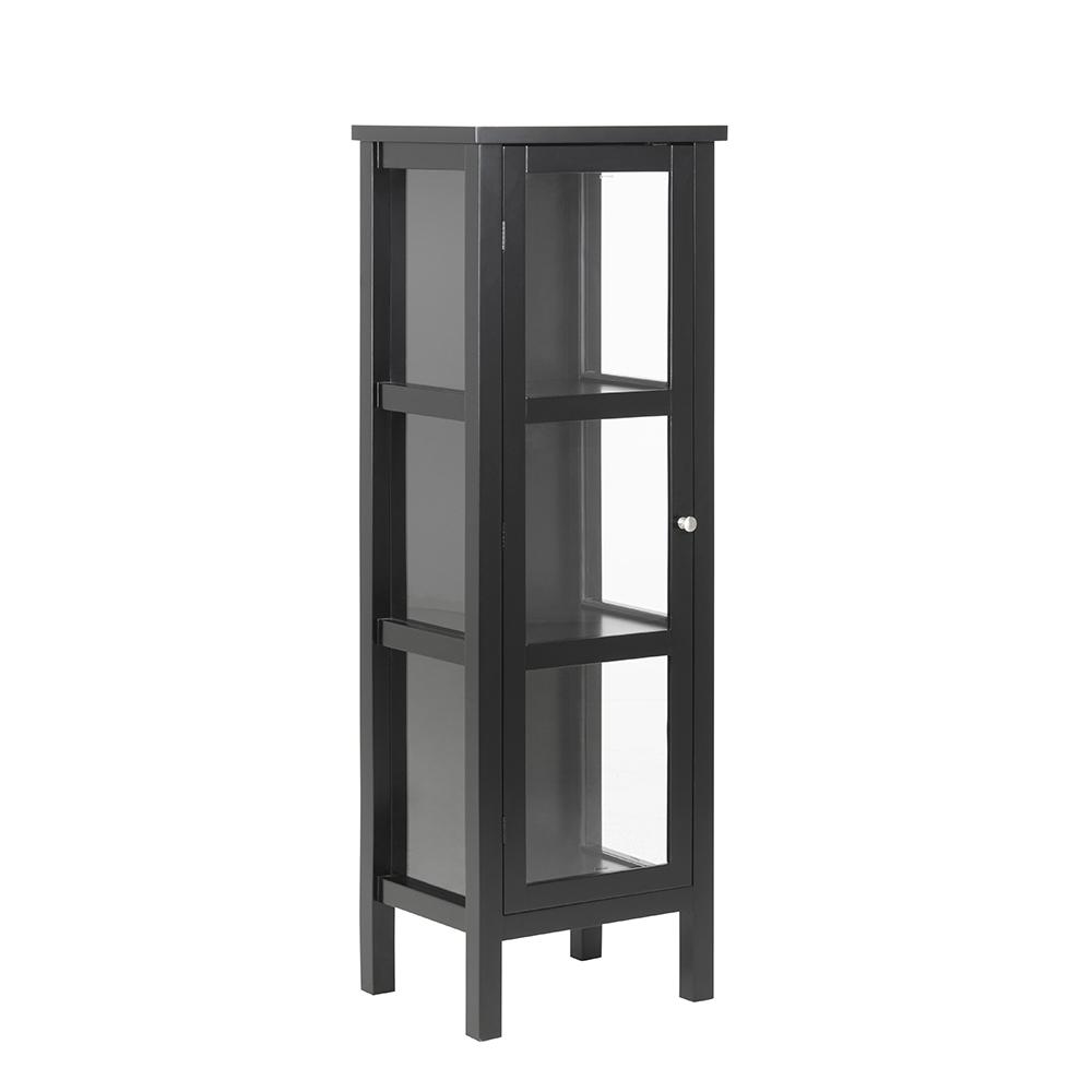 Vitrina s jednokřídlými dveřmi Elton, 136,5 cm, černá