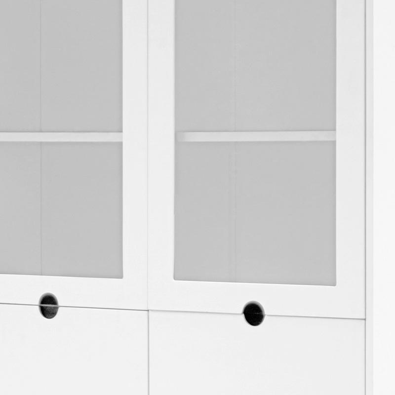 Vitrína / skříň s 4 dveřmi Milenium, 190 cm, bílá/černá