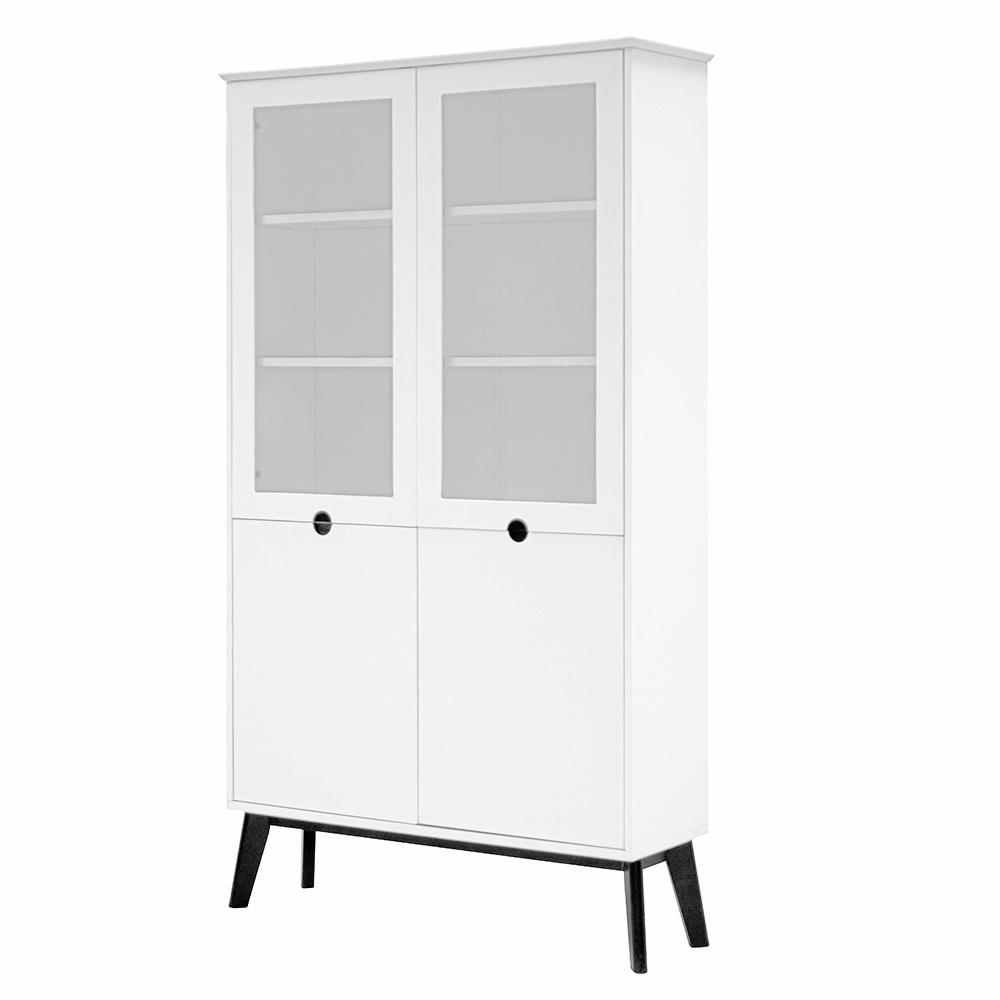 Vitrína / skriňa s 4 dverami Milenium, 190 cm, biela/čierna, biela / čierna