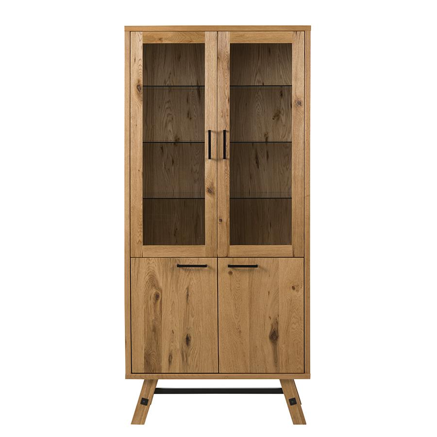 Vitrína / skríňa s presklenými dverami Kiruna, 187 cm, dub