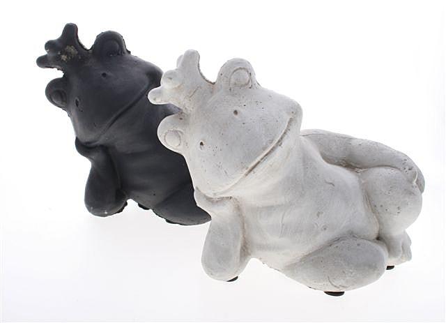 Záhradná dekorácia Odpočívajúca žaba (SET 2 ks), čierna / šedá