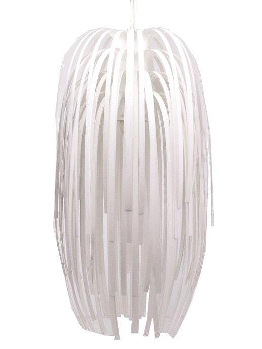 Závěsný lustr z plastových proužků Stripy bílá
