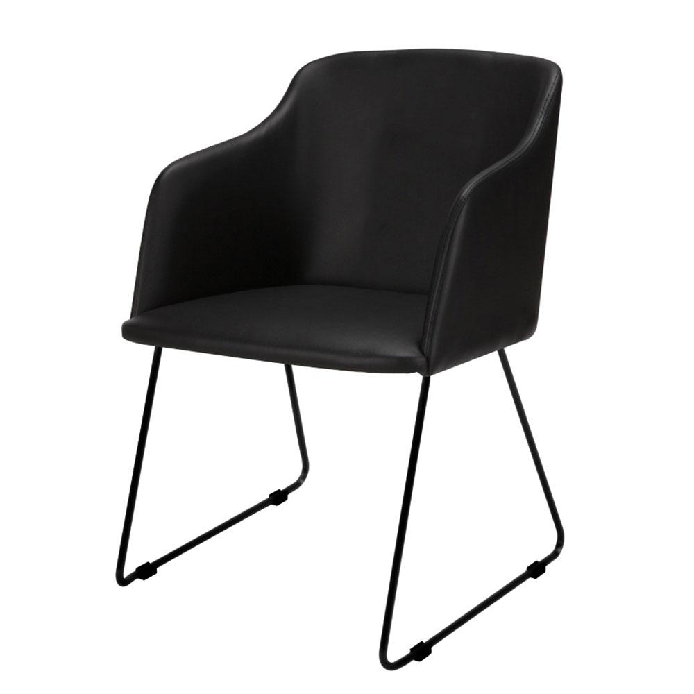 Židle s područkami Blanka (SET 2 ks), černá kůže